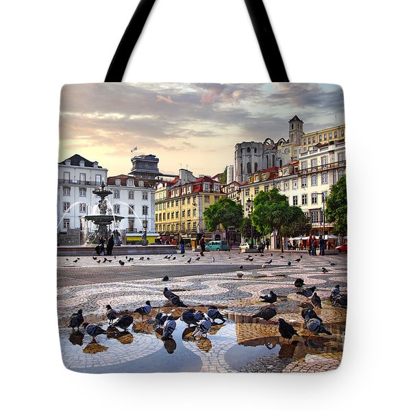 Downtown Lisbon Tote Bag by Carlos Caetano