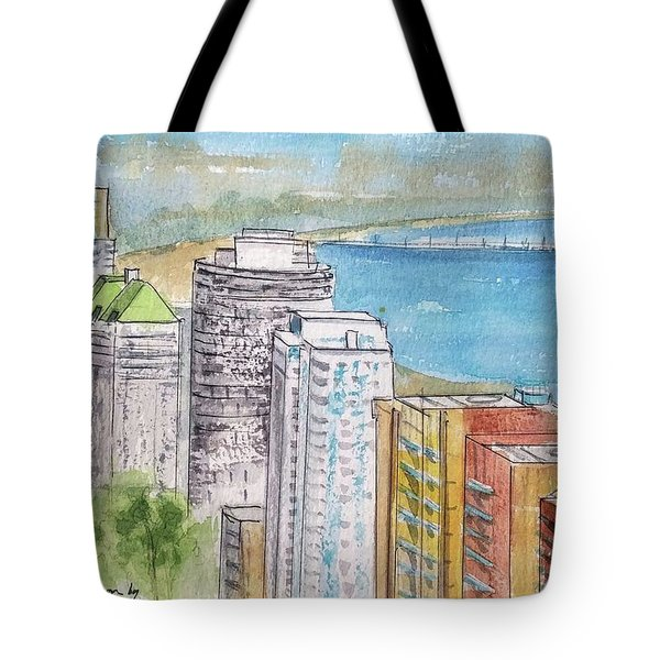 Tote Bag featuring the painting Downtown Long Beach Aerial View by Debbie Lewis