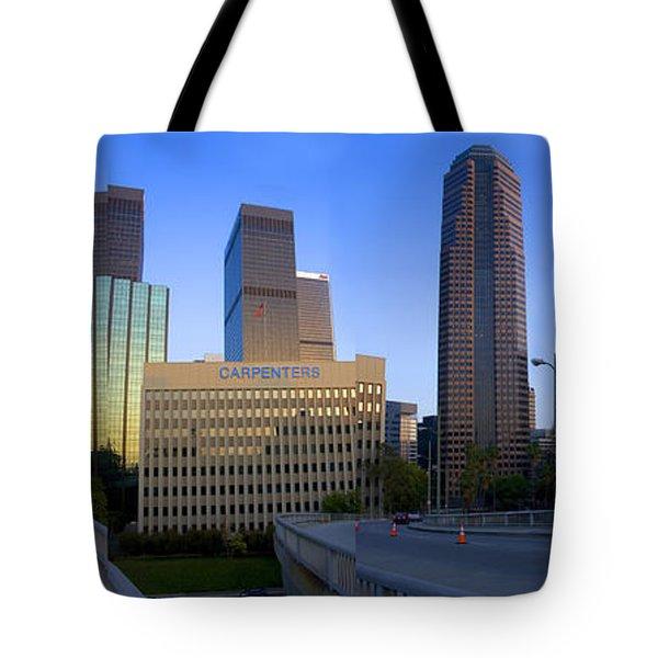 Downtown Los Angeles Skyline Tote Bag by Wernher Krutein