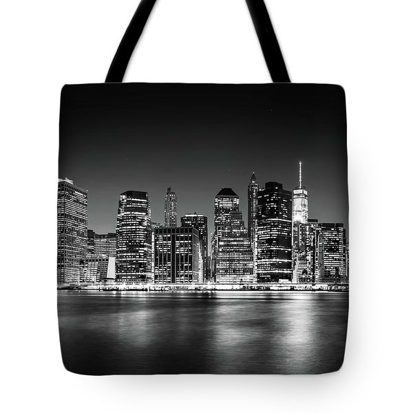 Tote Bag featuring the photograph Downtown Manhattan Bw by Az Jackson