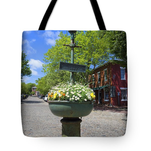 Downtown Nantucket - Garden View 46y Tote Bag