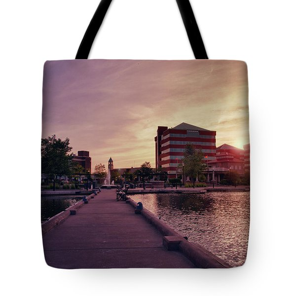 Tote Bag featuring the photograph Downtown Neenah Sunset by Joel Witmeyer