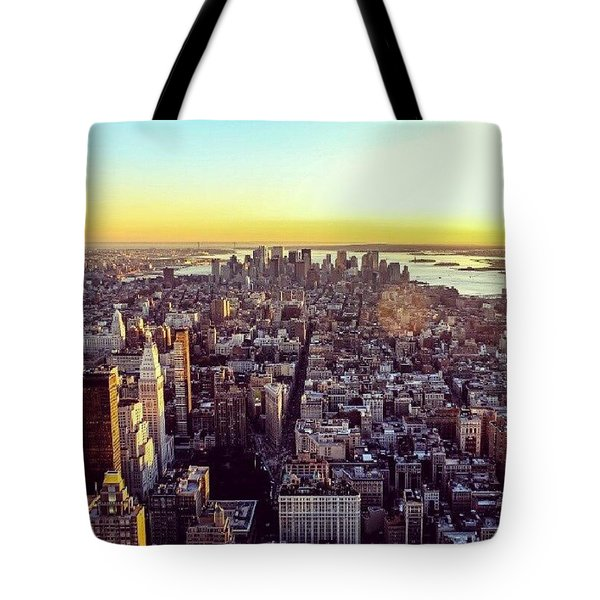 Downtown Or Lower Manhattan Tote Bag by Carmelo Pineda