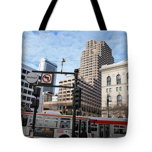 Downtown San Francisco - Market Street Buses Tote Bag by Matt Harang