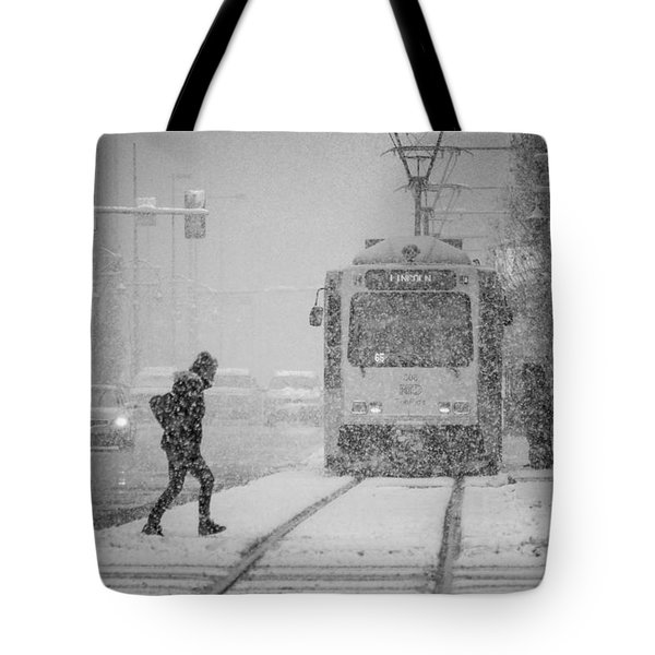 Downtown Snow Storm Tote Bag