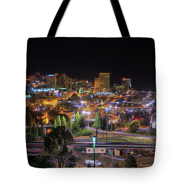 Downtown Tacoma Night Tote Bag