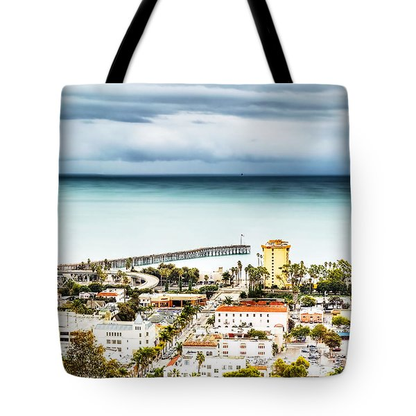 Downtown Ventura And Pier Tote Bag by Joe  Palermo