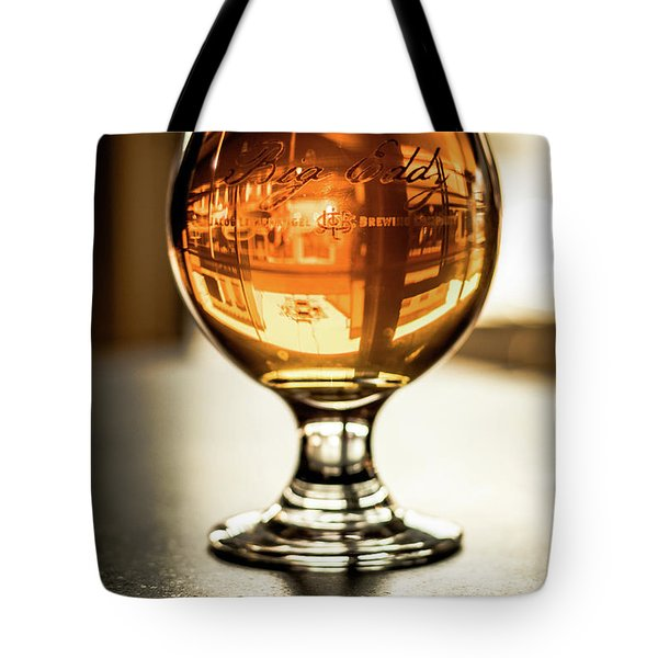 Downtown Waukesha Through A Glass Of Beer At Bernie's Taproom Tote Bag