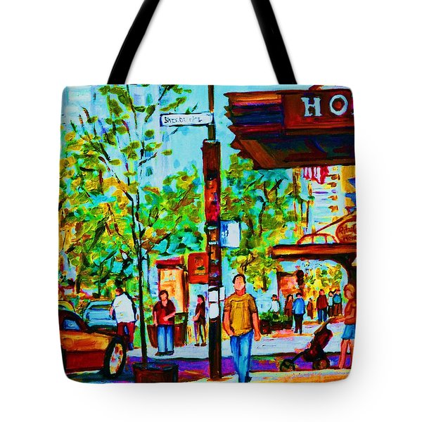 Downtowns Popping Tote Bag by Carole Spandau