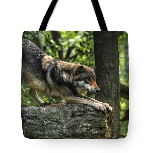 Downward Facing Wolf Tote Bag