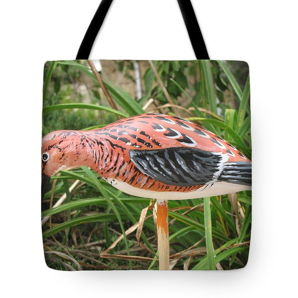 Tote Bag featuring the sculpture Downward Sanderling by Kevin F Heuman