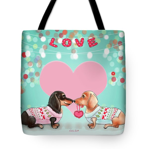 Tote Bag featuring the painting Doxie Valentine's Party by Catia Lee