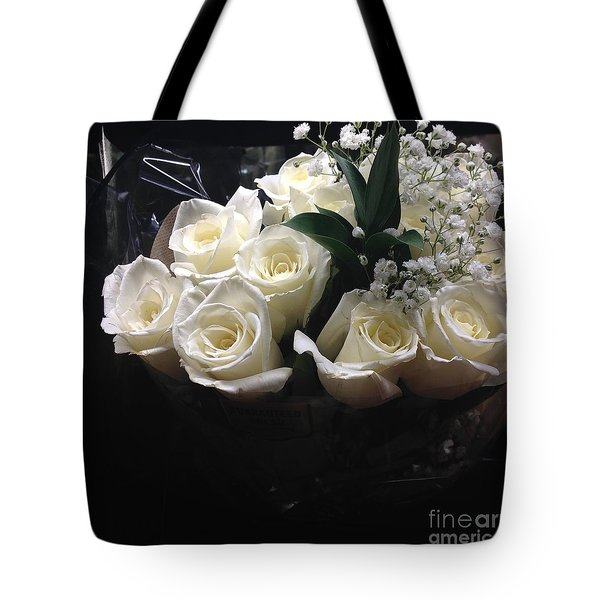 Dozen White Bridal Roses Tote Bag