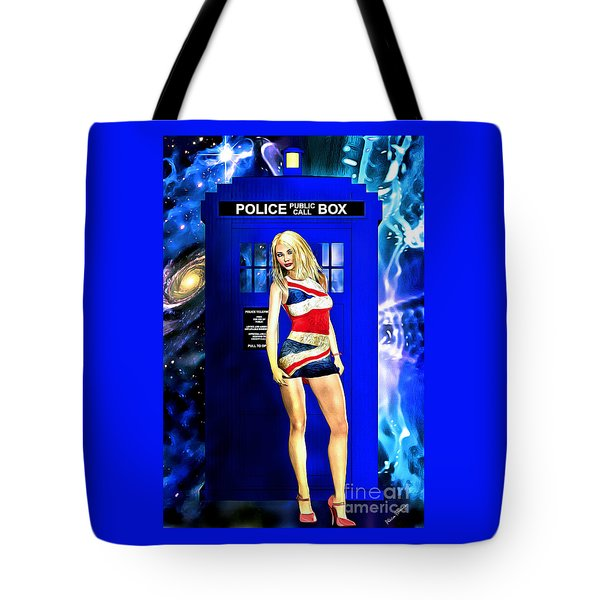 Doctor Who - Tardis And Rose Tyler Tote Bag