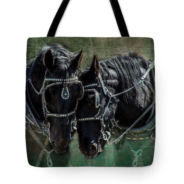 Tote Bag featuring the photograph Draft Horses by Mary Hone