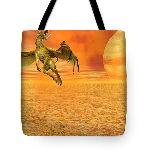 Dragon Against The Orange Sky Tote Bag by Michele Wilson
