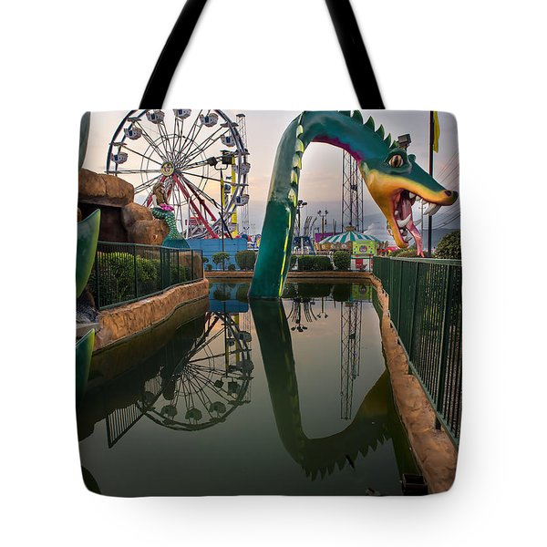 Dragon At Putt  Putt Tote Bag by Gary Warnimont