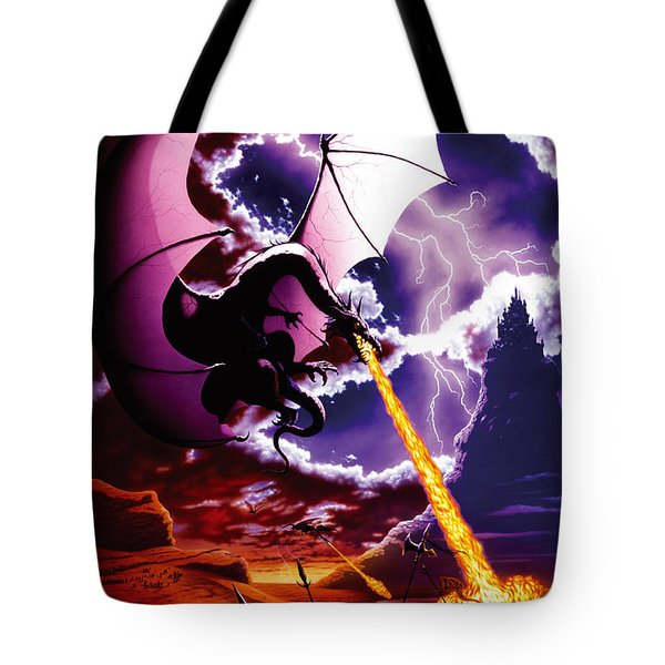 Dragon Attack Tote Bag by The Dragon Chronicles - Steve Re