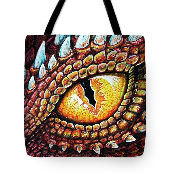 Tote Bag featuring the drawing Dragon Eye by Aaron Spong