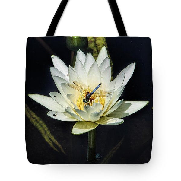 Dragon Fly On Lily Tote Bag