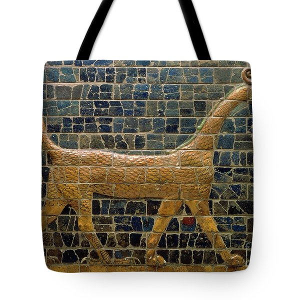 Dragon Of Marduk - On The Ishtar Gate Tote Bag by Anonymous