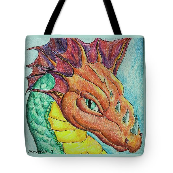 Tote Bag featuring the drawing Dragon Portrait by Yulia Kazansky