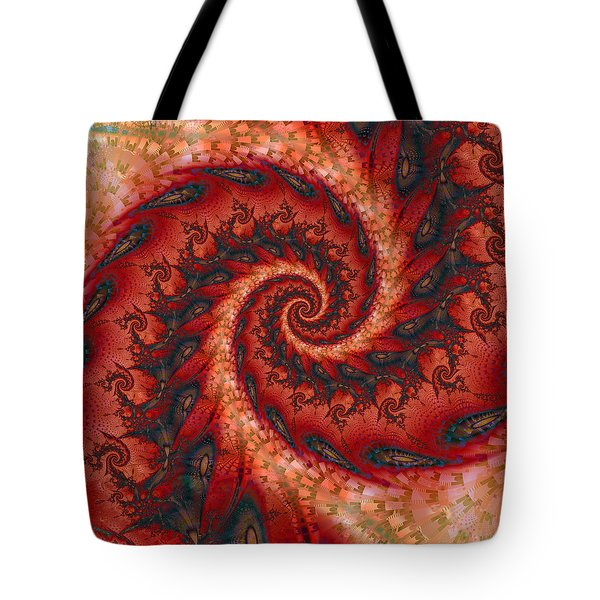 Tote Bag featuring the digital art Dragon Tail Spiral by Richard Ortolano