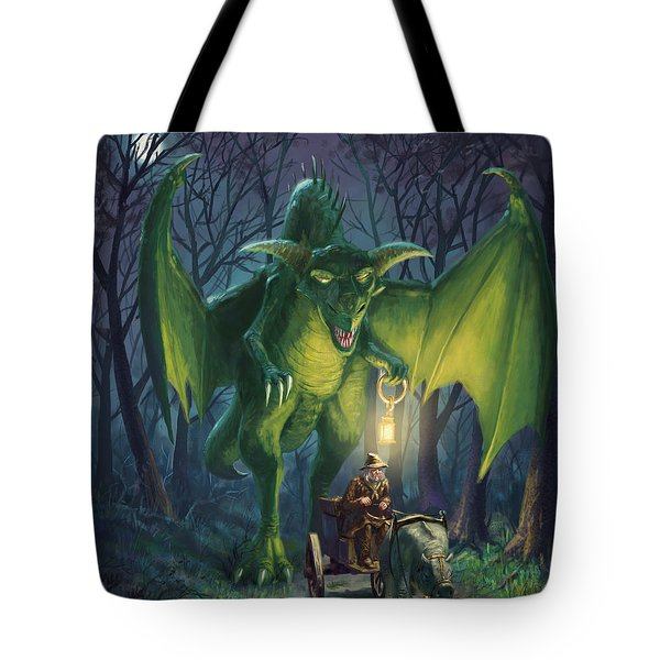 Tote Bag featuring the digital art Dragon Walking With Lamp Fantasy by Martin Davey