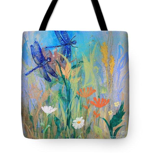 Dragonflies In Wild Garden Tote Bag