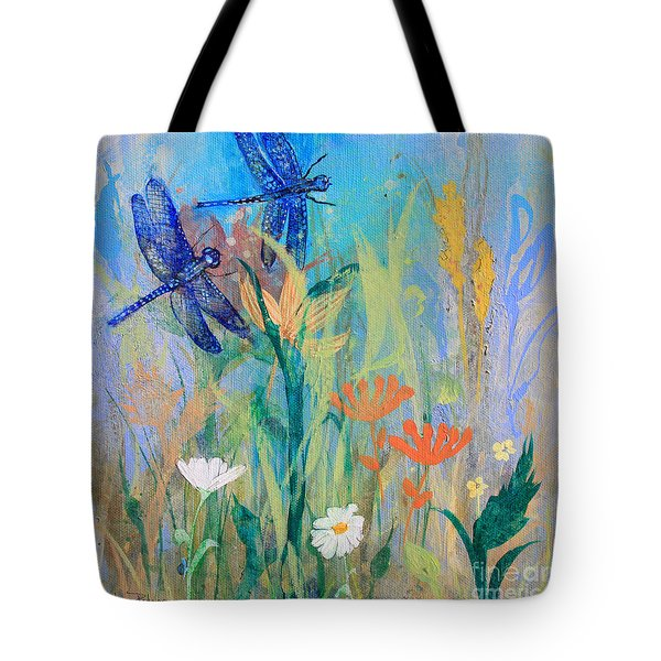 Dragonflies In Wild Garden Tote Bag