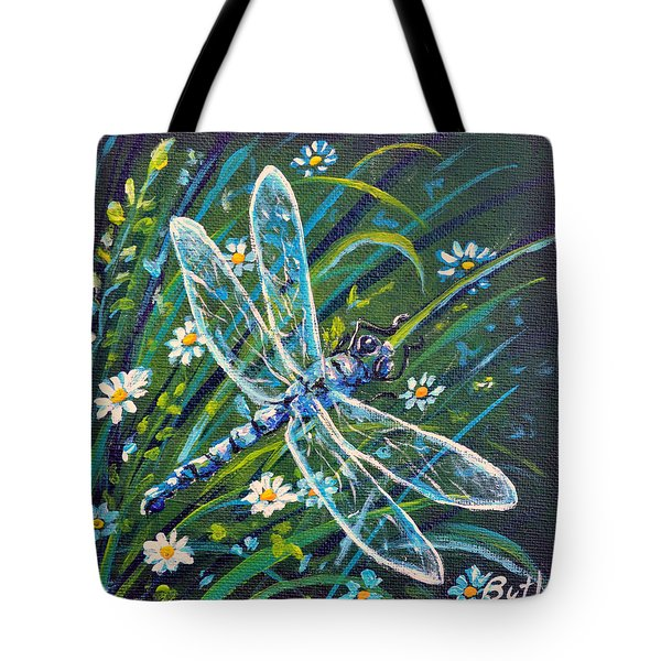 Dragonfly And Daisies Tote Bag
