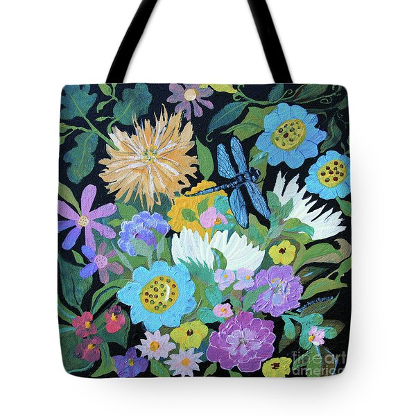 Tote Bag featuring the painting Dragonfly And Flowers by Robin Maria Pedrero