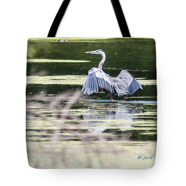 Tote Bag featuring the photograph Dragonfly And Great Blue Heron by Edward Peterson