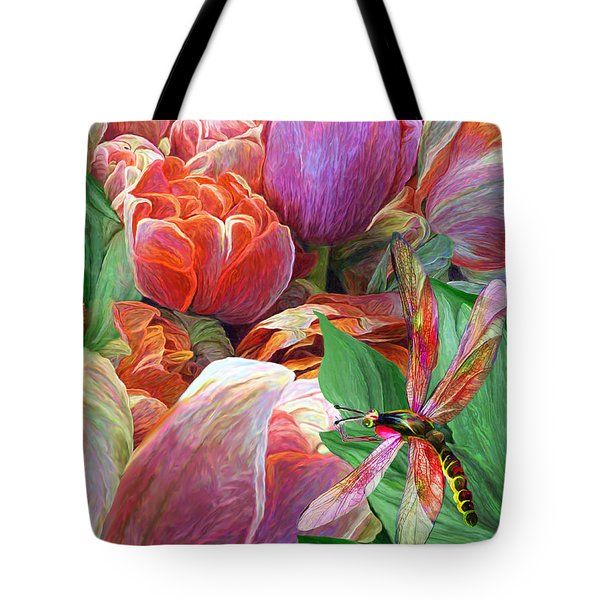 Tote Bag featuring the mixed media Dragonfly And Tulips 2 by Carol Cavalaris