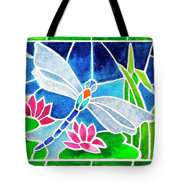 Dragonfly And Water Lilies In Stained Glass 2 Tote Bag by Janis Grau