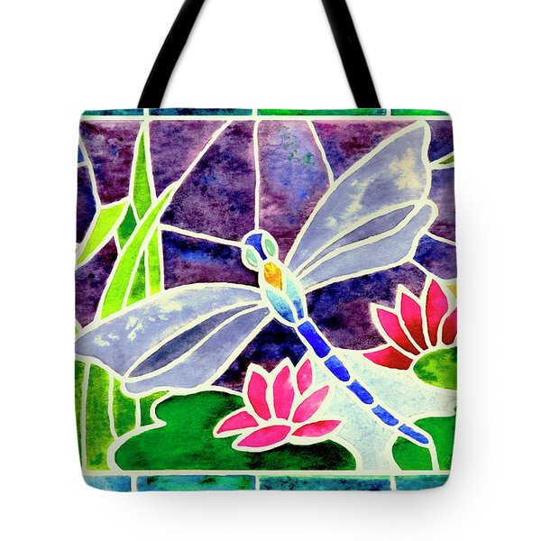 Dragonfly And Water Lily In Stained Glass Tote Bag by Janis Grau