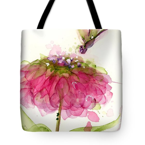 Dragonfly And Zinnia Tote Bag