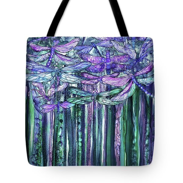 Tote Bag featuring the mixed media Dragonfly Bloomies 1 - Lavender Teal by Carol Cavalaris