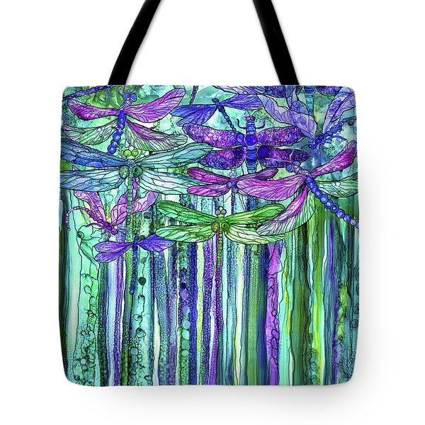 Tote Bag featuring the mixed media Dragonfly Bloomies 1 - Purple by Carol Cavalaris