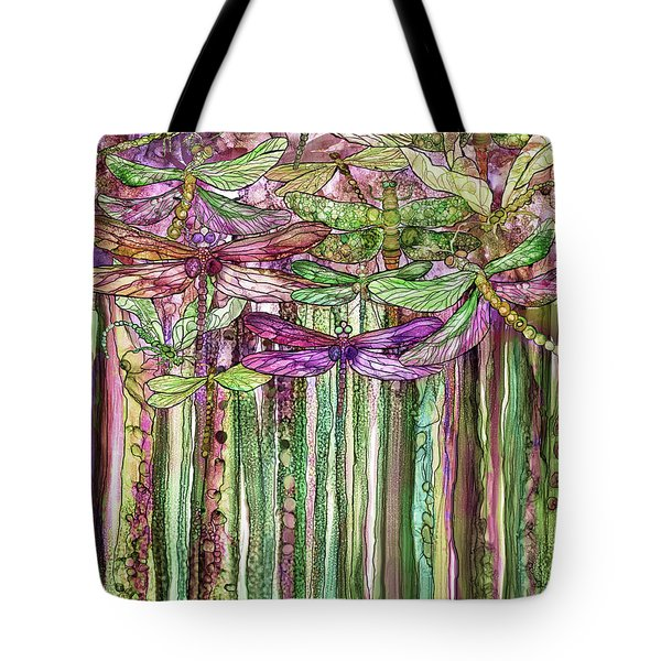 Tote Bag featuring the mixed media Dragonfly Bloomies 1 - Pink by Carol Cavalaris