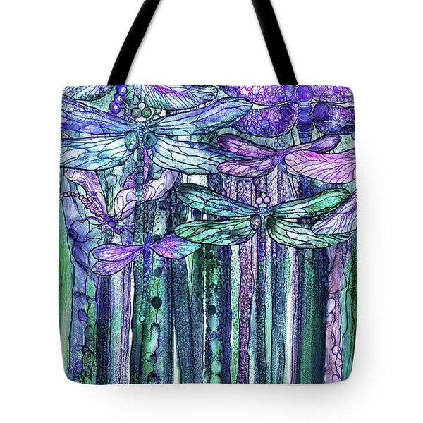 Tote Bag featuring the mixed media Dragonfly Bloomies 2 - Lavender Teal by Carol Cavalaris