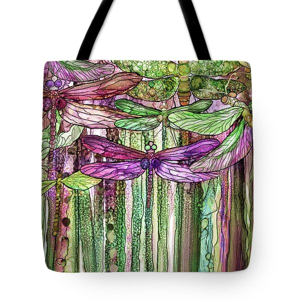 Tote Bag featuring the mixed media Dragonfly Bloomies 2 - Pink by Carol Cavalaris