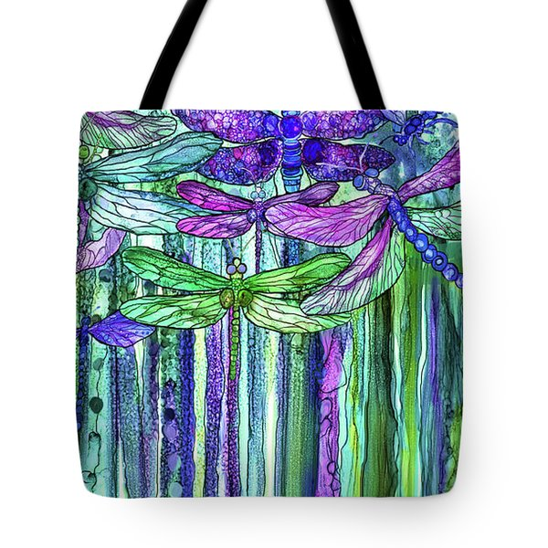 Tote Bag featuring the mixed media Dragonfly Bloomies 2 - Purple by Carol Cavalaris