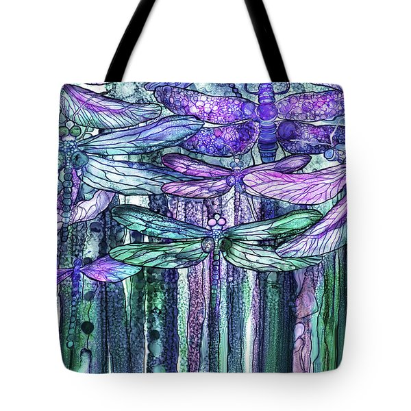 Tote Bag featuring the mixed media Dragonfly Bloomies 3 - Lavender Teal by Carol Cavalaris