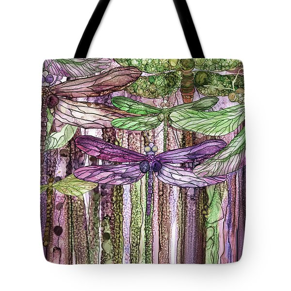 Tote Bag featuring the mixed media Dragonfly Bloomies 3 - Pink by Carol Cavalaris