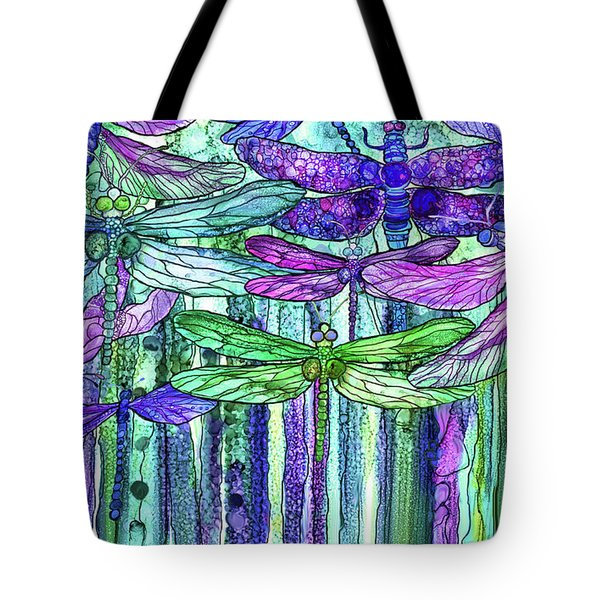Tote Bag featuring the mixed media Dragonfly Bloomies 3 - Purple by Carol Cavalaris