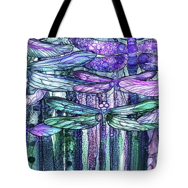 Tote Bag featuring the mixed media Dragonfly Bloomies 4 - Lavender Teal by Carol Cavalaris