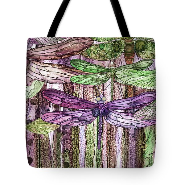 Tote Bag featuring the mixed media Dragonfly Bloomies 4 - Pink by Carol Cavalaris