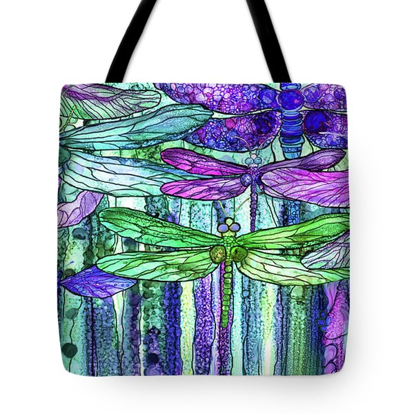 Tote Bag featuring the mixed media Dragonfly Bloomies 4 - Purple by Carol Cavalaris