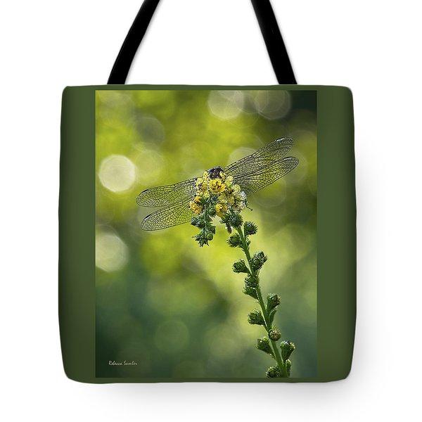 Dragonfly Flower Tote Bag